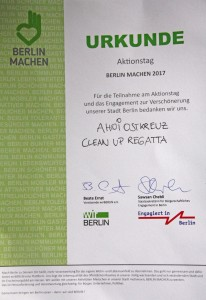 Urkunde für Clean Up Regatta 2017